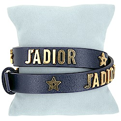 Dior J'ADIOR 金字小牛皮雙圈手環/頸鍊(深藍色)