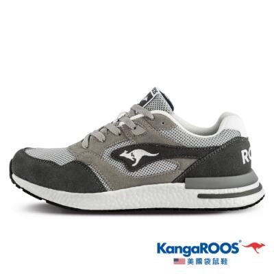KangaROOS 美國袋鼠鞋 男 RACER EVO 科技運動鞋/慢跑鞋/休閒鞋/跑鞋(灰-KM11668)