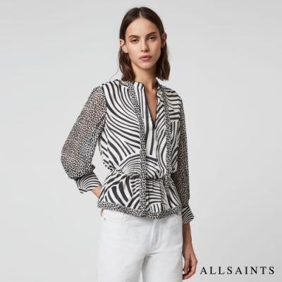 ALLSAINTS TONIC MILIA 斑馬紋印花綁腰長袖上衣-白