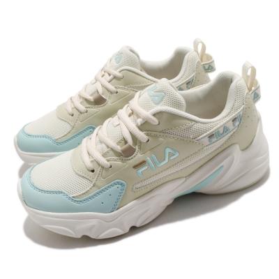 Fila 休閒鞋 Hidden Tape2 厚底 女鞋 斐拉 老爹鞋 穿搭推薦 復古慢跑鞋 米 藍 5J329V166