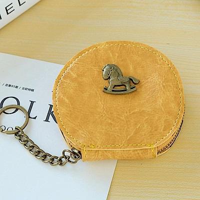 iSPurple 古銅小馬 雲彩皮革零錢鑰匙圓包 黃