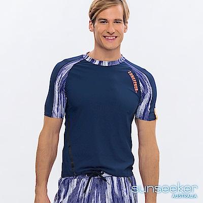 澳洲Sunseeker泳裝男士快乾短袖衝浪上衣-條紋藍