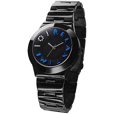 RELAX TIME 101獨家設計品牌手錶-IP黑x藍時標/38mm