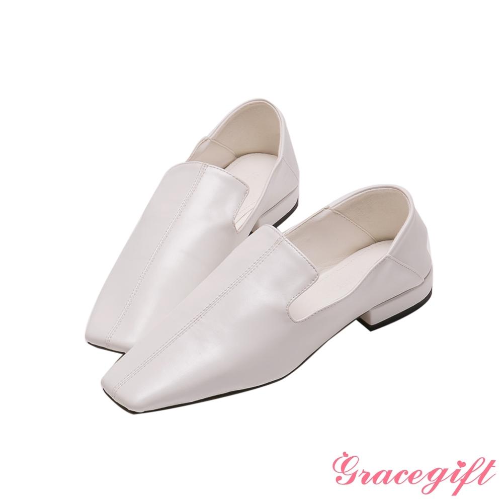 Grace gift-方頭車線2WAY低跟樂福鞋 白