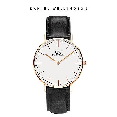 DW 手錶 官方旗艦店 36mm玫瑰金框 Classic 爵士黑真皮皮革錶