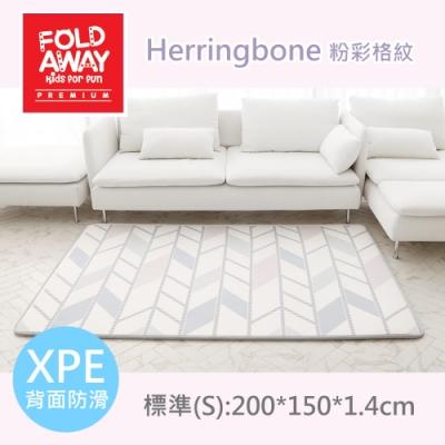 韓國FOLDAWAY PE遊戲地墊/爬行墊-粉彩格紋/標準款(200x150x1.4cm)
