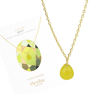 Orelia英國品牌 八月橄欖石誕生石金色項鍊