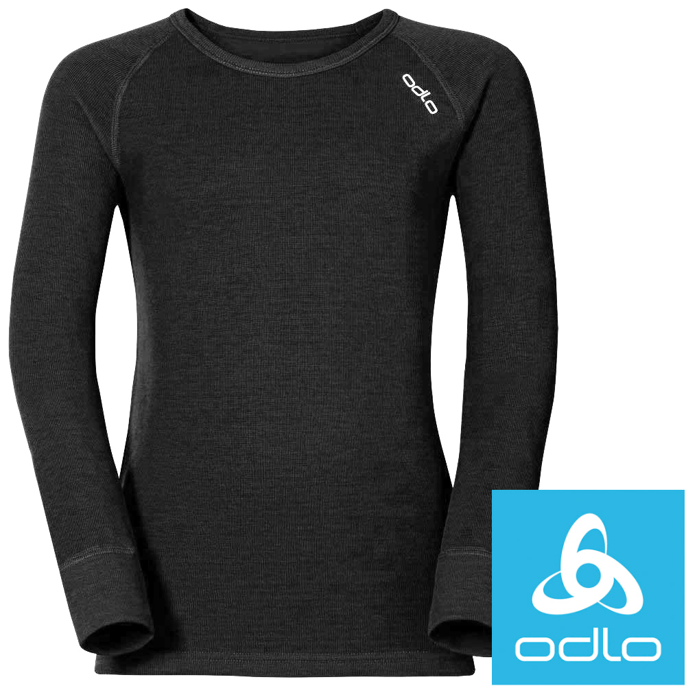 Odlo 10459_15000黑 童保暖圓領銀離子衛生衣/保暖衣