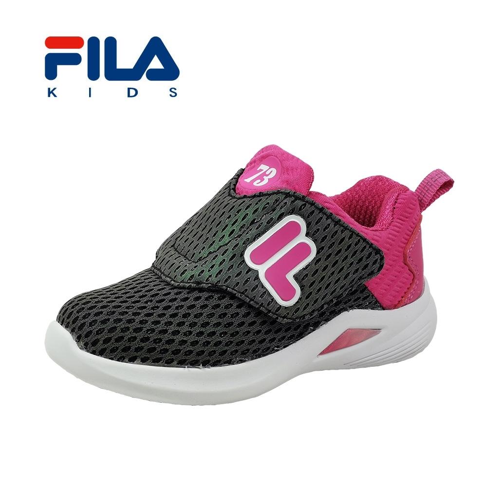 FILA 輕量反光慢跑鞋 黑桃 小童(2~4歲) 7-J852T-055
