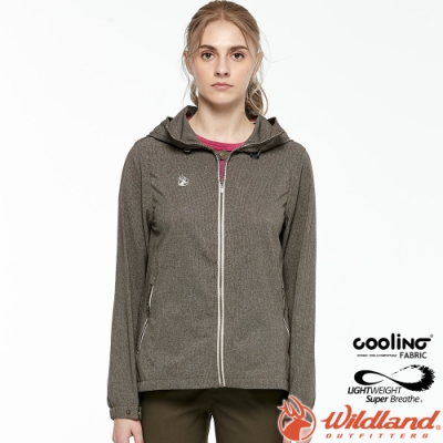 Wildland 荒野 0A81905-105摩卡色 女可溶紗環保外套 抗UV/遮陽外套/吸排透氣/連帽防曬/登山