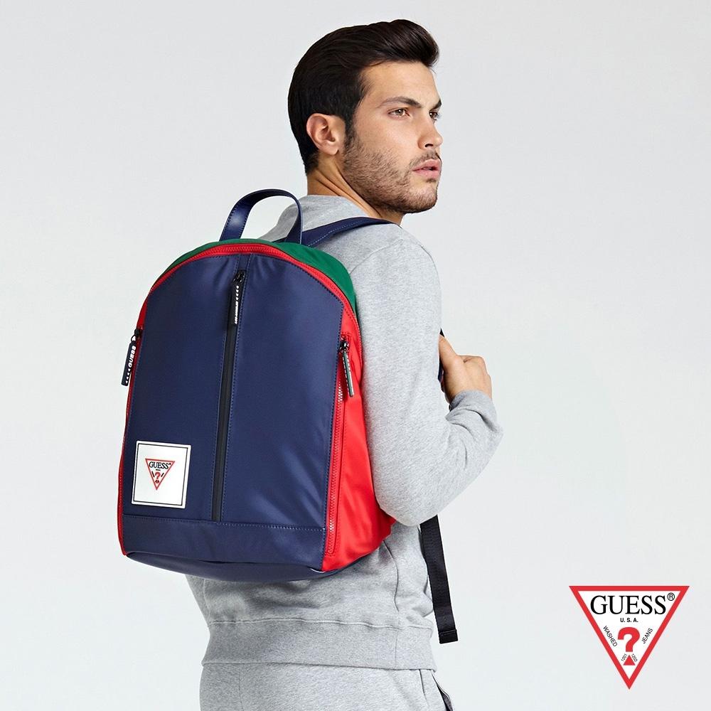 GUESS-男包-撞色時尚後背包-深藍