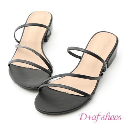 D+AF 清新好感.精緻細帶低跟涼鞋*黑