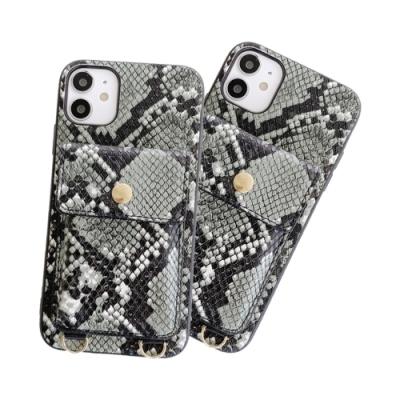 iPhone12 / i12 鱷魚皮紋 可插卡 收納 手機 保護套 四邊 防摔 軟邊 手機殼 (附 斜背繩) -黑綠款-i12黑綠*1