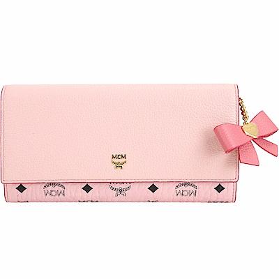 MCM Mina Bow 品牌塗層帆布拼接三折長夾(粉色)