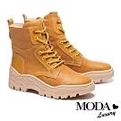 短靴 MODA Luxury 簡約登山風中性全真皮綁帶厚底短靴-咖