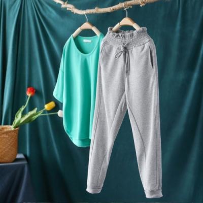 純棉花苞高腰運動褲衛褲寬鬆束腳顯瘦休閒長褲-設計所在
