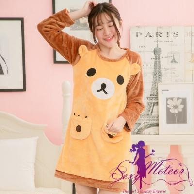 睡衣 全尺碼 熊熊口袋水貂絨長袖連身裙睡衣(琥珀色) Sexy Meteor