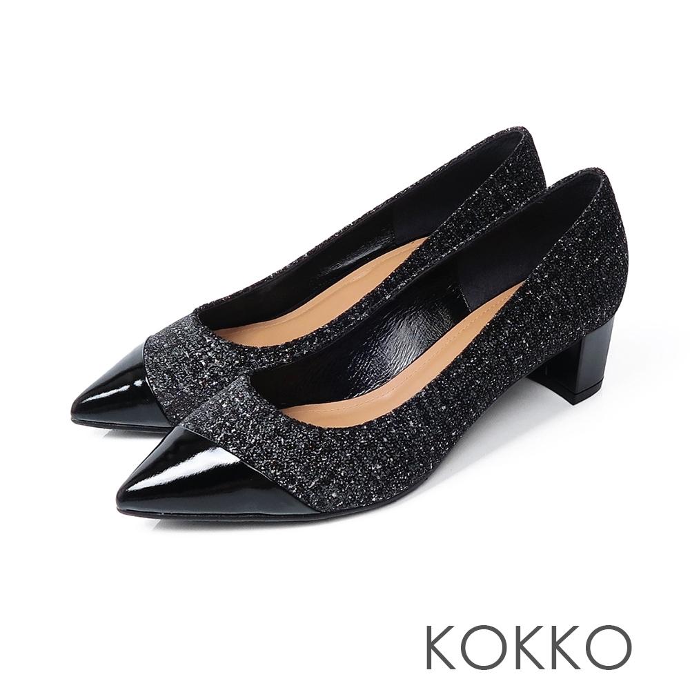 KOKKO -雙色拼接都會風低跟鞋-格紋黑