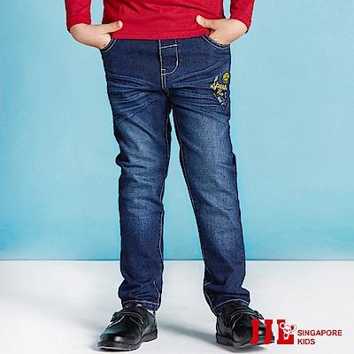 JJLKIDS 刺繡英字刷色牛仔褲(藍色)
