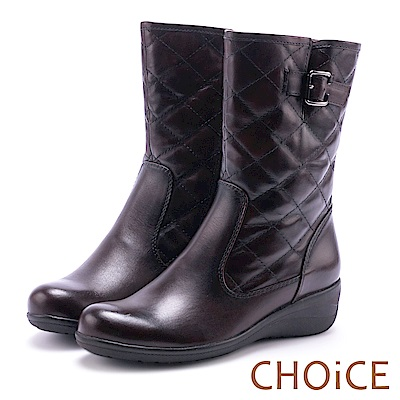 CHOiCE 個性復古 牛皮菱格紋造型縫線低跟中筒靴-咖啡