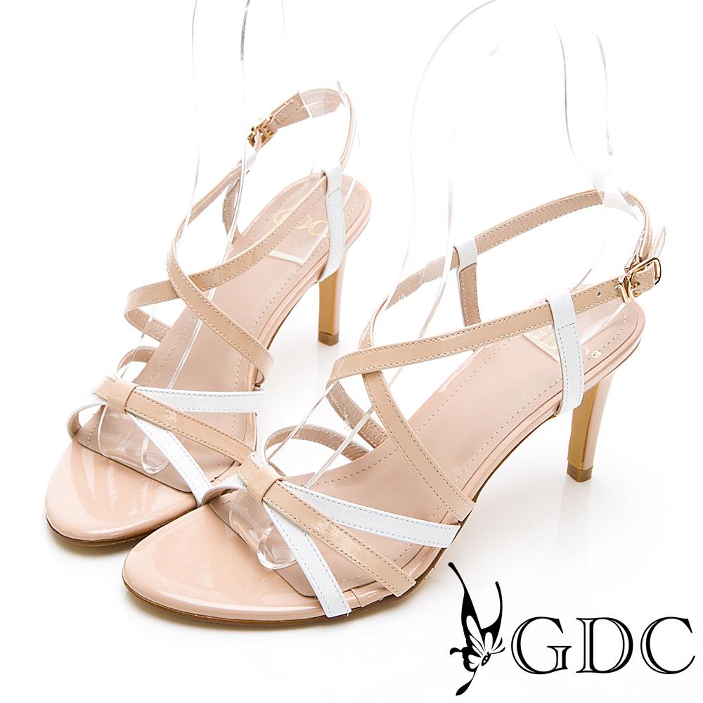 GDC-真皮日系甜美春配色交叉蝴蝶結涼鞋-米色