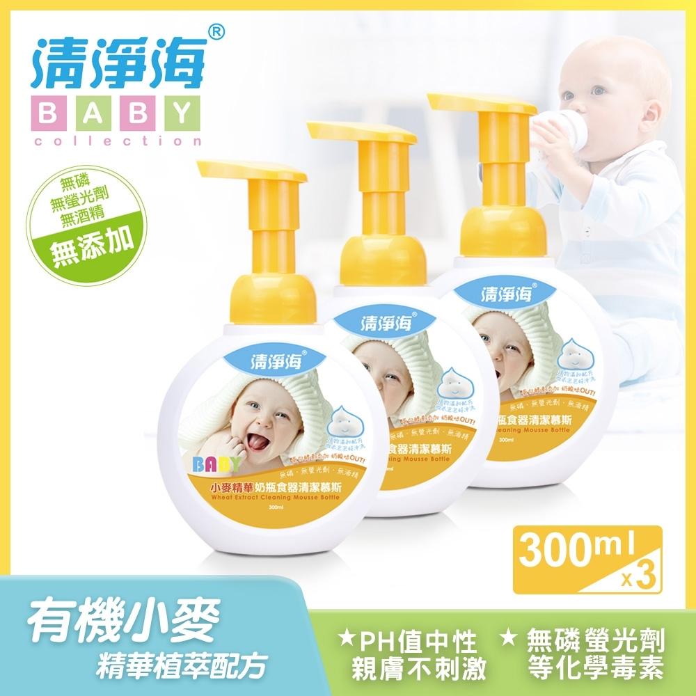 清淨海 小麥奶瓶食器清潔慕斯 300ml (超值3入組)