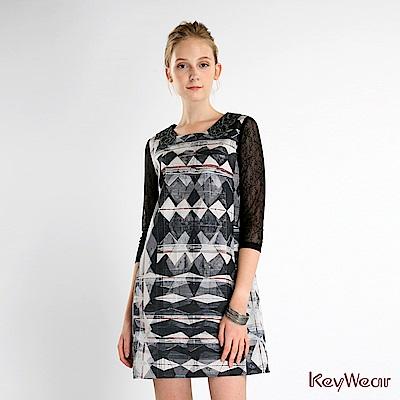 KeyWear奇威名品    襯衫領長袖針織洋裝-綜合色