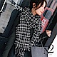 圍巾 經典格紋小香風毛呢感披肩圍巾(黑色) N2 product thumbnail 1
