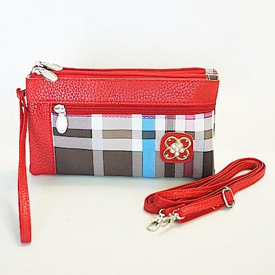 Miyo 時尚格紋多層格功能包(紅)