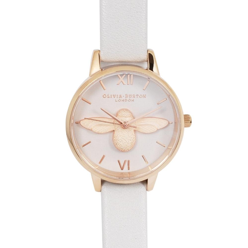 Olivia Burton 英倫復古手錶 3D立體蜜蜂 白色真皮錶帶 玫瑰金錶框 30mm