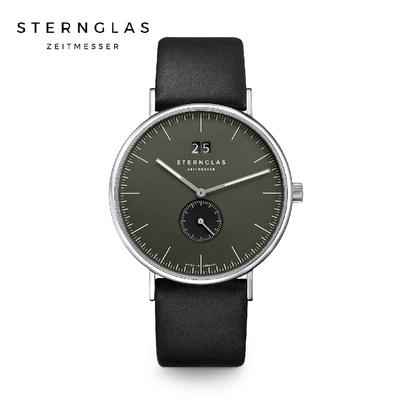 STERNGLAS 德國希丹格斯 S01-IV08-PR07 伊沃小三針綠盤文青石英錶(黑錶帶) 40mm 男/女錶