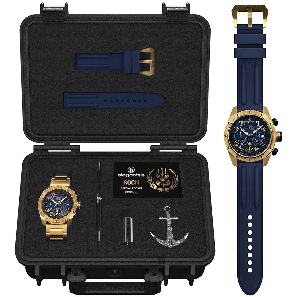elegantsis 中華民國海軍艦隊計時限量套錶-藍x金/47mm