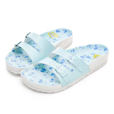 DISNEY 滿版米奇大頭休閒拖鞋-藍-DW5161FF