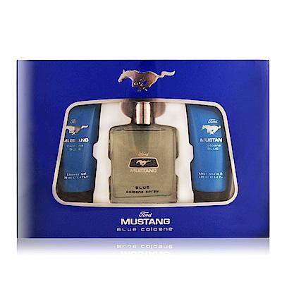 FORD MUSTANG福特野馬 藍調男性淡香水禮盒[淡香水+沐浴膠+鬍後水]