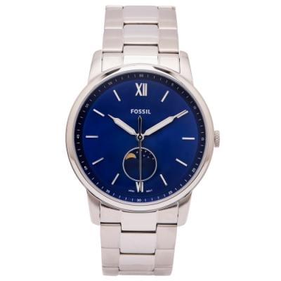 FOSSIL 藍色月相視窗設計不鏽鋼錶帶手錶(FS5618)-藍色面X銀色/42mm