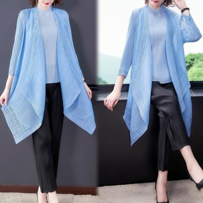【KEITH-WILL】(預購) 時尚優雅設計清涼三宅壓摺罩衫
