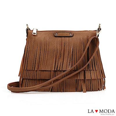 La Moda 注目度百分百流蘇綴飾大容量肩背斜背包(棕)