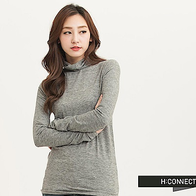 H:CONNECT 韓國品牌 女裝 - 基本純色高領上衣-灰(快)