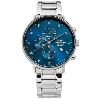 ALBA 競速三眼藍寶石水晶玻璃計時日期不鏽鋼手錶-藍色/44mm