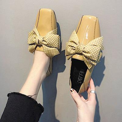 韓國KW美鞋館 搶鮮購英倫復古百搭平底鞋-黃色
