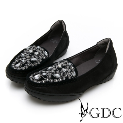 GDC-真皮貴氣水鑽百搭舒適休閒鞋-黑色