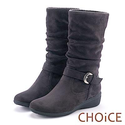 CHOiCE 冬日耀眼 2WAY絨布抓皺低跟短靴-灰色