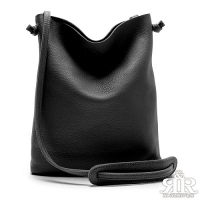2R 頭層牛皮Hook自在顯瘦細帶斜背包 子夜黑
