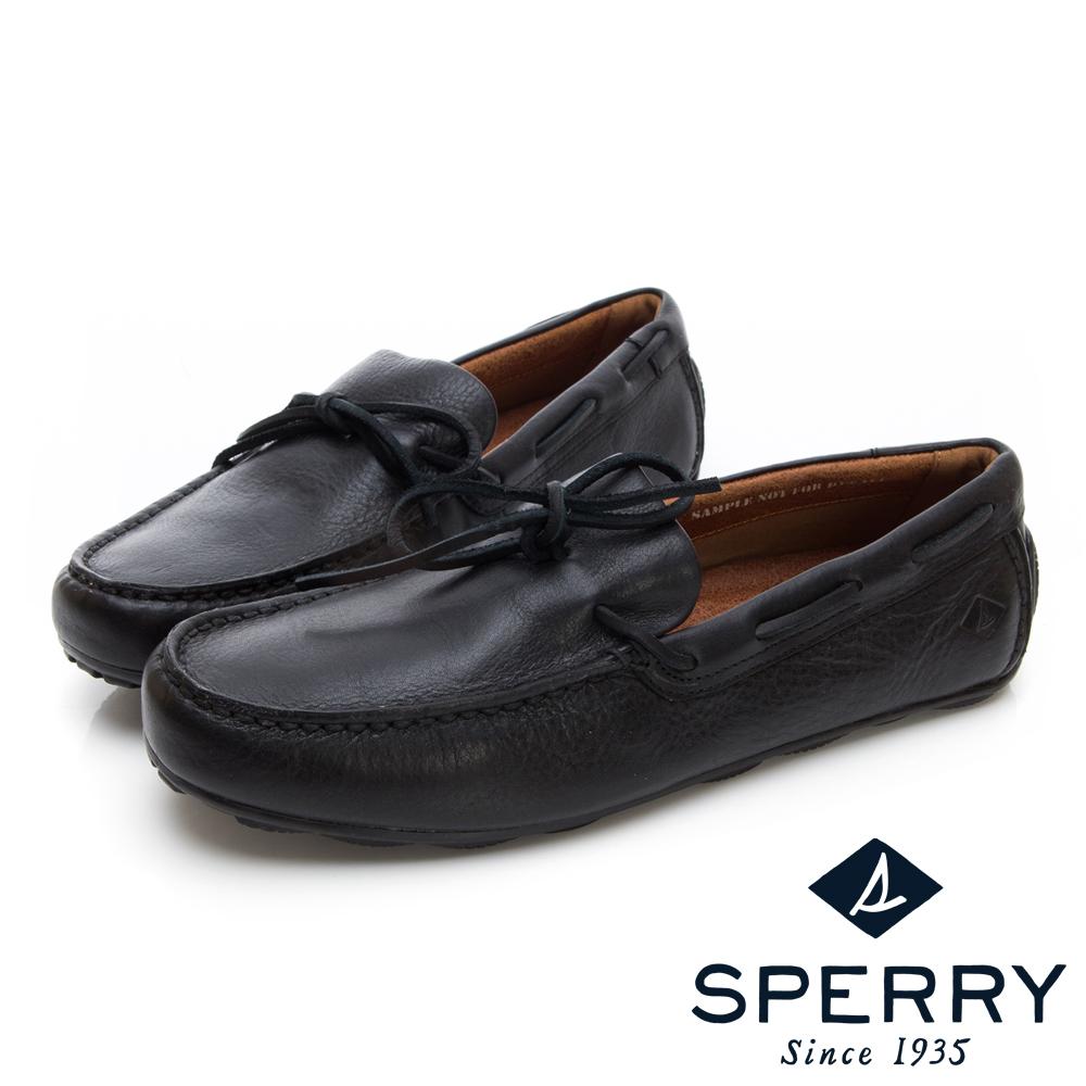 SPERRY 絕倫舒適經典綁帶設計牛皮開車鞋(男)-黑色