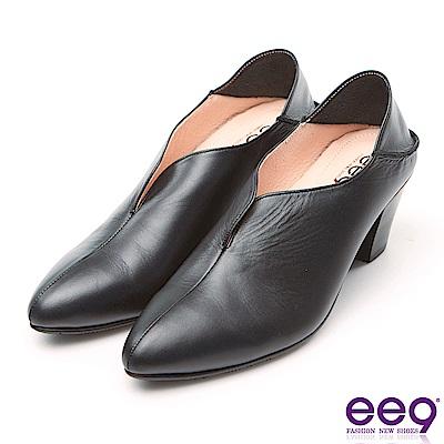ee9 MIT經典手工素面2WAY懶人粗跟鞋 黑色