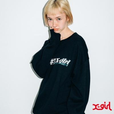 X-girl #1 FLOWER CREW SWEAT TOP 大學T-黑