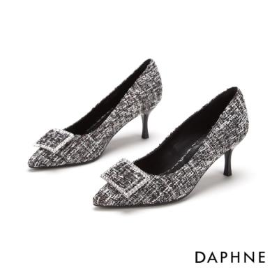 達芙妮DAPHNE  高跟鞋-鑽飾方扣尖頭高跟鞋-格紋灰