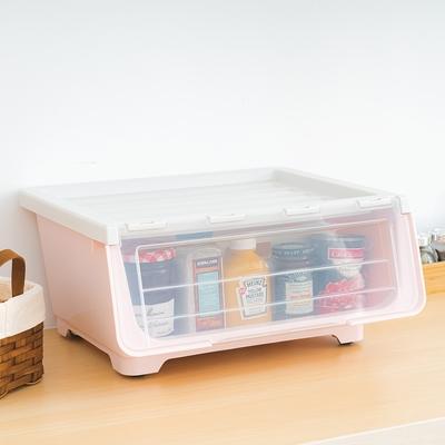 樂嫚妮 掀蓋式收納箱-3入/堆疊收納/整理箱/附輪-30L-寬43X深36X高31cm-粉色