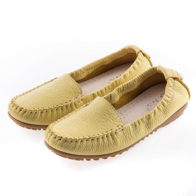 G.Ms. MIT系列-厚實牛皮莫卡辛休閒鞋-黃色