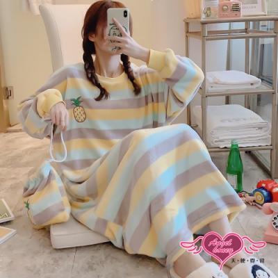 保暖睡衣 冬日陽光 法蘭絨一件式長袖連身睡裙(黃F) AngelHoney天使霓裳